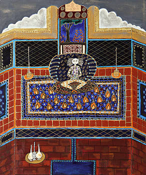 Meditating Master in Tiled Courtyard by Maggis Art