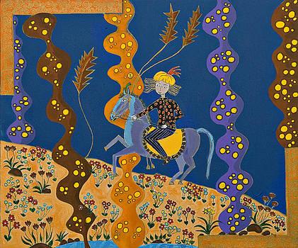 Meditating Master on Horse by Maggis Art