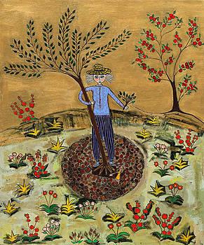 Meditating Master Planting Tree by Maggis Art