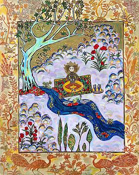 Meditating Master Under a Tree by Maggis Art