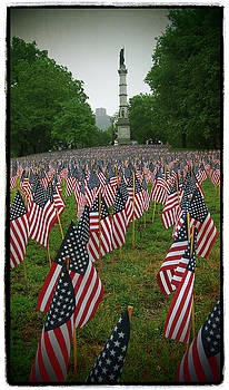Memorial Day Flags on the Boston Common with Soldiers and Sailors Monument by Joann Vitali