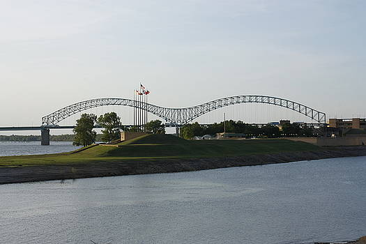 Memphis Bridge Mud Island by Dawn Davis