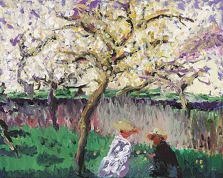 Men under tree by Davis Elliott