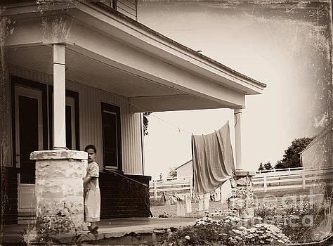 Mennonite Girl Hanging Laundry by Beth Ferris Sale