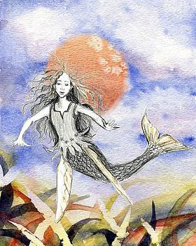 Mermaid in fields of grass by Sarah Kovin Snyder
