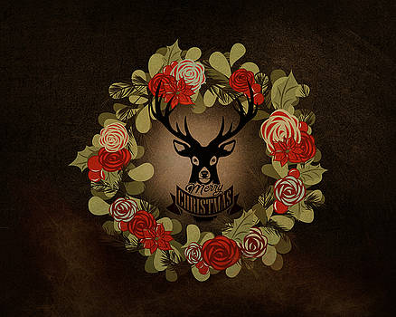 Merry Christmas Stag by Terry Fleckney