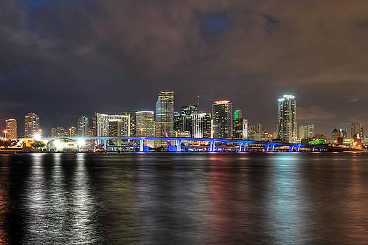 Miami Skyline at Night by Mark Whitt