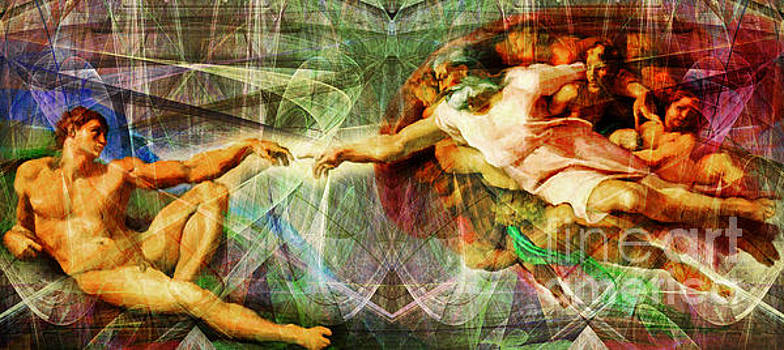 Wingsdomain Art and Photography - Michelangelo The Creation of Adam in Abstract Space 20150622