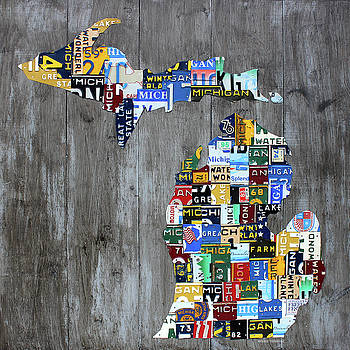Michigan Counties Patchwork License Plate Art Recycled Vintage Map 2017 Edition  by Design Turnpike