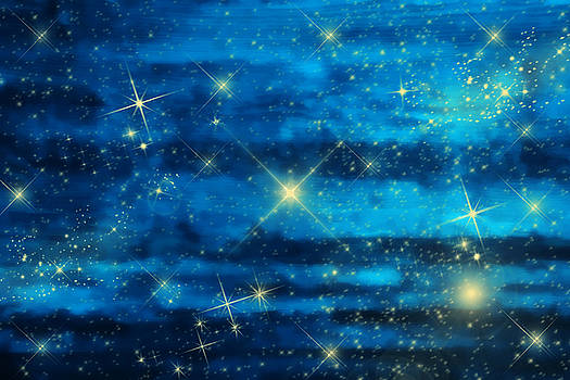Midnight blue sky with stars by Gry Thunes