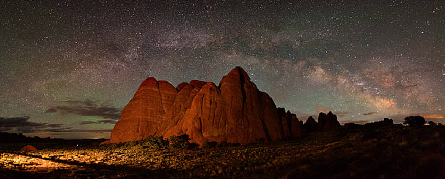 Milky Way Rainbow Over The Shark Fins by Mike Berenson