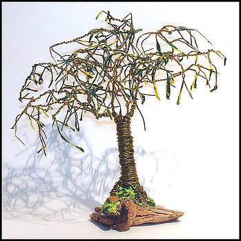Mini Oak with Leaves  Wire Tree Sculpture. by Sal Villano