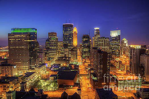 Minneapolis Skyline Art Marquette Avenue by Wayne Moran
