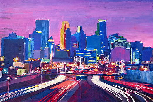 Minneapolis Skyline at Night in Minnesota by M Bleichner
