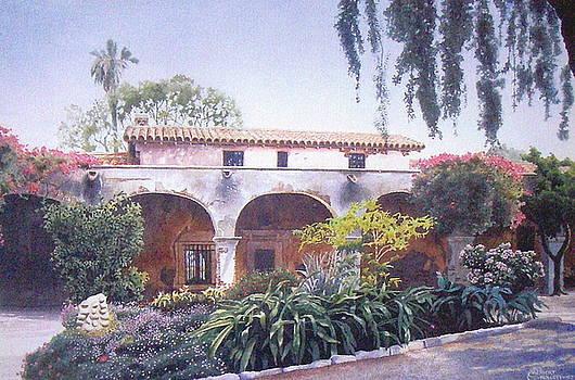 Mission Courtyard by C Robert Follett