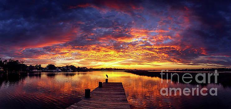 Mississippi Gulf Coast Sunset Pano by Joan McCool