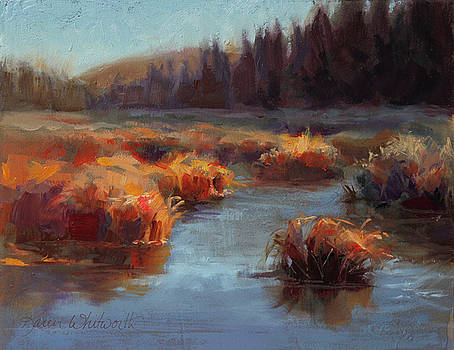 Misty Autumn Meadow With Creek and Grass - Landscape Painting From Alaska by Karen Whitworth
