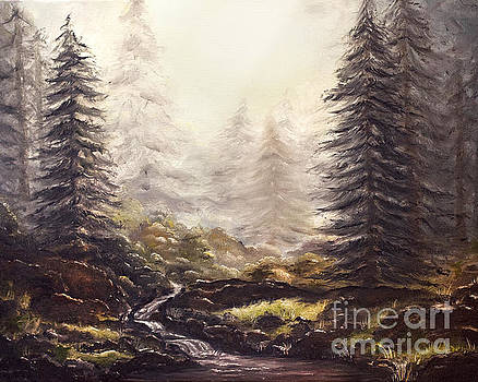 Misty Forest Stream by Angelina Cornidez