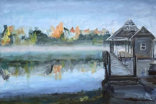 Misty Morning Dock at Smith Mountain Lake by Donna Tuten