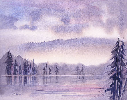 MISTY MORNING watercolor landscape by Phil Albone