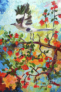 Ginette Callaway - Impressionism Mockingbird In Holly Tree Palette Knife Painting