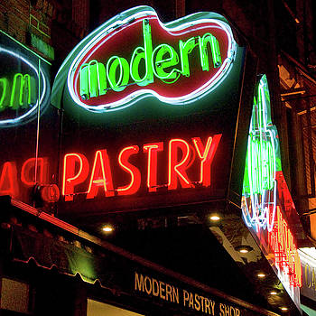 Modern Pastry Neon Sign - Boston North End by Joann Vitali