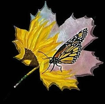 Monarch on Maple Leaf by Sandra Maddox