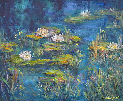 Monet Style Water Lily Marsh Wetland Landscape Painting by Amber Palomares