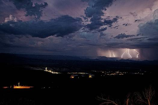 Monsoon Lightning over Sedona from Jerome AZ by Ron Chilston