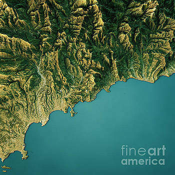 Monte Carlo Topographic Map Natural Color Top View by Frank Ramspott