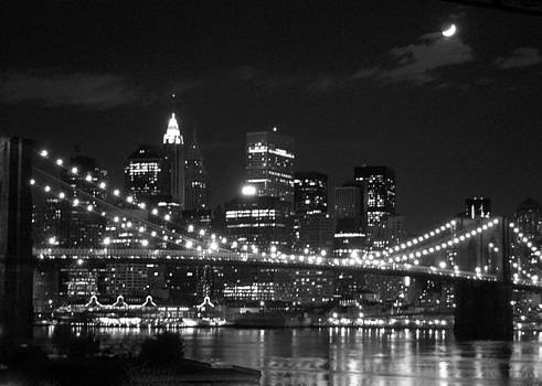 Moon over Brooklyn Bridge by Susan Gauthier