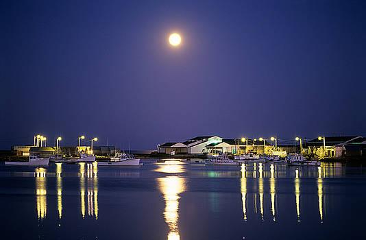 Moon over fishing boats by David Nunuk