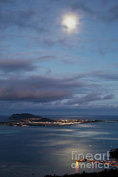 Moon over Kaneohe Bay by Charmian Vistaunet