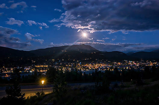 Moon Rising Over Breckenridge by Michael J Bauer
