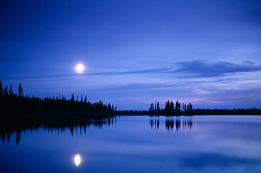 Moon rising over Summit Lake by David Nunuk
