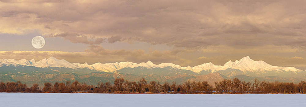Moon Setting over the Front Range  by Lois Lake