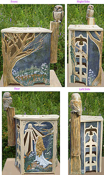 Moonlight Reverie Stoneware Garden Seat by Joyce Jackson