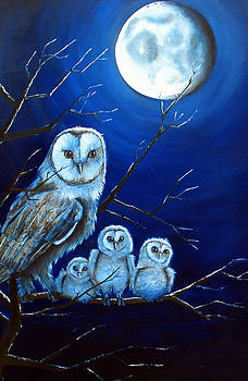 Moonlit owlets by Julianna Wells