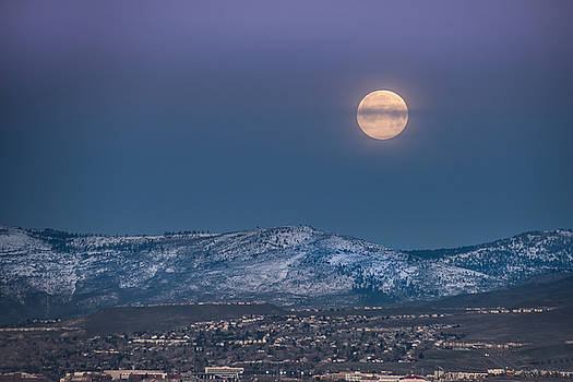 Moonset over Peavine by Janis Knight