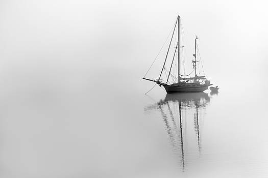 Moored on a foggy day by Ted Petrovits