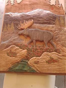 Moose Door Panel by Stacey Mitchell