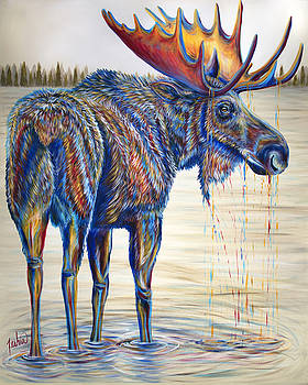 Moose Gathering, 2 Piece Diptych- Piece 1- Left Panel by Teshia Art