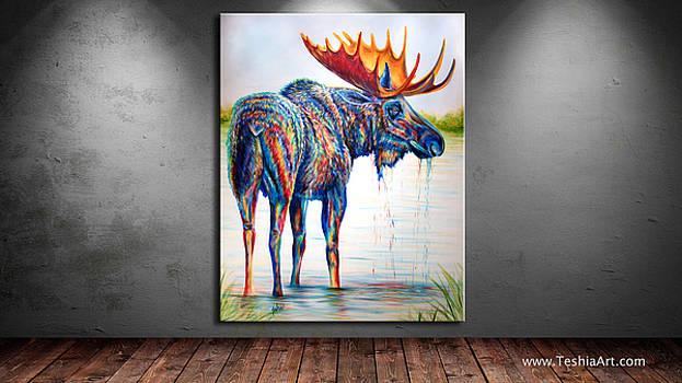 Teshia Art - Moose Sighting DISPLAY IMAGE ONLY