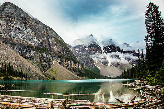 Moraine Lake in the Rain by Monte Arnold