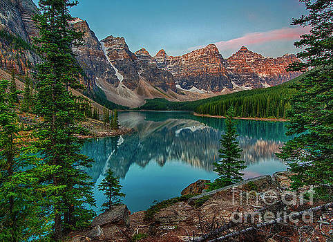 Moraine Lake Just Before Dawn - Banff National Park by Yefim Bam