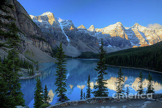 Moraine Lake Sunrise Blue Skies by Wayne Moran