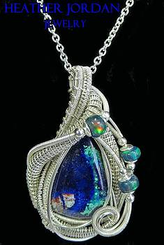 Morenci Azurite Malachite and Sterling Silver Wire-Wrapped Pendant with Ethiopian Opals - MMASSP4 by Heather Jordan