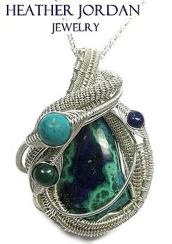 Morenci Azurite Malachite and Sterling Silver Wire-Wrapped Pendant with Turquoise, Malachite n Lapis by Heather Jordan