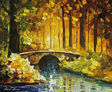 Morning Bridge - PALETTE KNIFE Oil Painting On Canvas By Leonid Afremov by Leonid Afremov