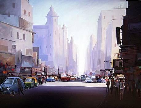 Morning Light-Acrylic on Canvas by Samiran Sarkar